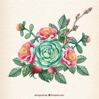fleurs peintes à la main