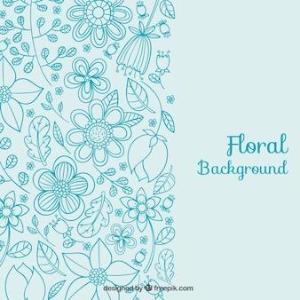 Floral background dans les tons bleus