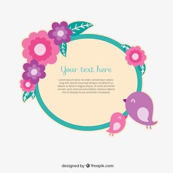 Floral frame dans le style mignon