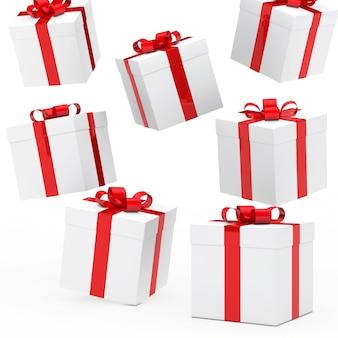 Fond blanc avec des coffrets cadeaux