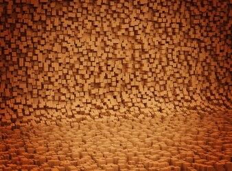 Fond en bois courbé moderne. Intérieur en bois courbé à partir de planches vagabondes et de types de bois.