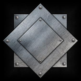 Fond métallique avec des formes carrés