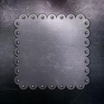 Fond métallique avec des rayures et des taches et cadre