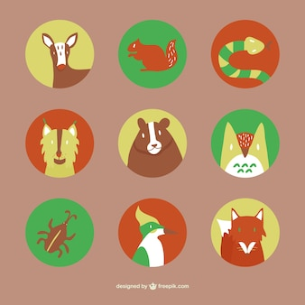 Icônes animaux de la forêt plats fixés