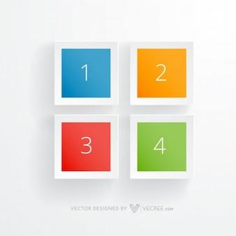 Quatre carrés colorés vecteur de infographiques