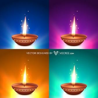 Quatre flammes Diwali vector set