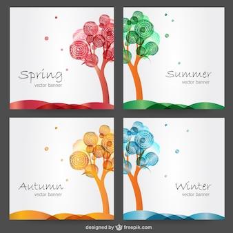 Quatre saisons de dessin vectoriel