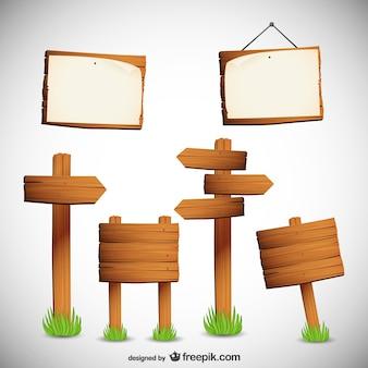 Collection de vecteur de panneaux de signalisation en bois libre