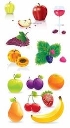 Fruits de vecteurs de qualité. vin, raisins, bananes, pommes, oranges.