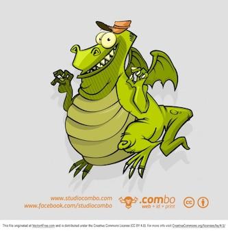 Personnage de dessin animé drôle de dragon