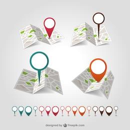 Géolocalisation carte broche vecteur ensemble