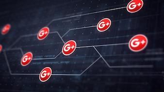 Google Plus Icon Line Connexion de la carte de circuit