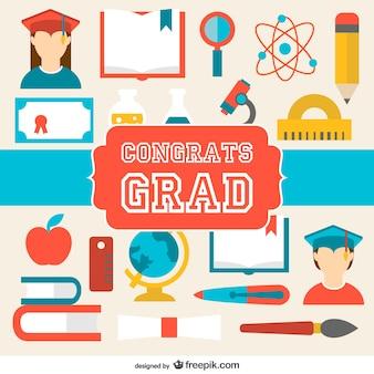 Carte de félicitations d'obtention du diplôme de vecteur