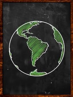 Green Earth on Blackboard Globe