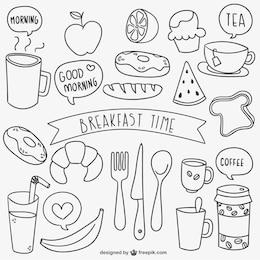 griffonnages de temps de petit déjeuner