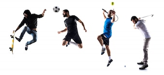 Groupe de sportifs jouant au golf, au tennis, au football et au skate