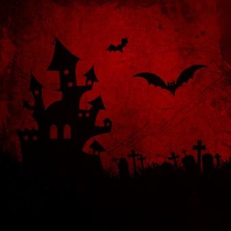 Grunge Halloween fond avec maison hantée