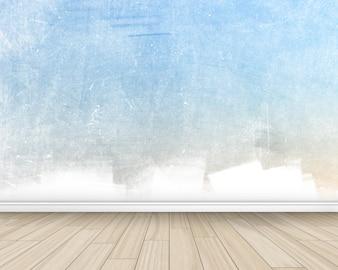 Grunge intérieur de la chambre de style avec mur peint et plancher en bois