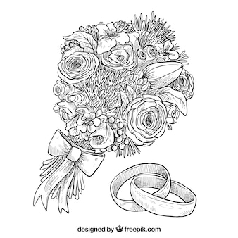 Hand drawn bouquet de fleurs