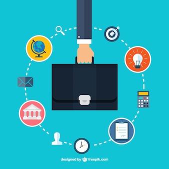 Une main tenant une mallette et business icons
