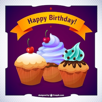 Vecteur de petit gâteau de joyeux anniversaire graphiques