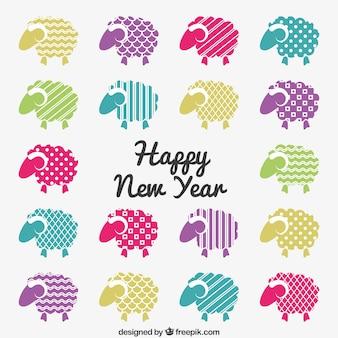 Happy new year card avec des chèvres colorés