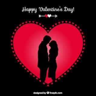 Heureux couple de carte de Saint-Valentin