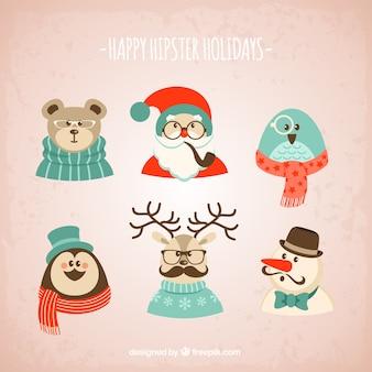 Hipster personnages de Noël