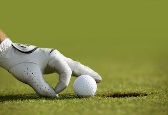 Homme arbre de golf vert balle