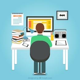 Homme travaillant sur son ordinateur