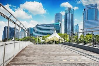 Horizon, paysage urbain, affaires, lumière, financier