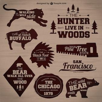 Badges de chasse vecteur ensemble