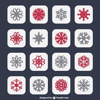 Icônes de flocons de neige en deux couleurs