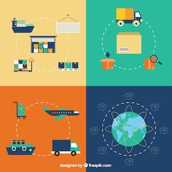 icônes de logistique de livraison