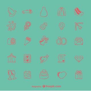 Icônes de mariage doodle mis