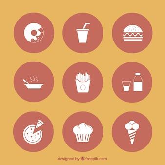 Icônes de nourriture délicieuse