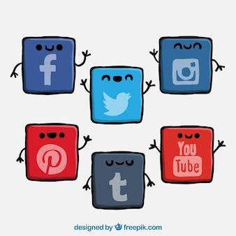 Icônes de réseaux sociaux mignon
