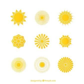 Icônes de soleil jaune