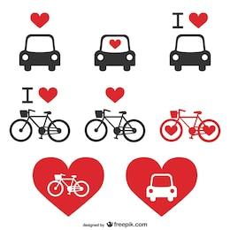 Icônes du coeur de vecteur de transport