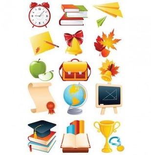 Icônes école éducation ensemble détaillé