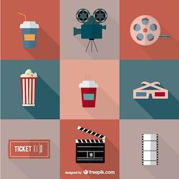 Icônes film cinéma de vecteur