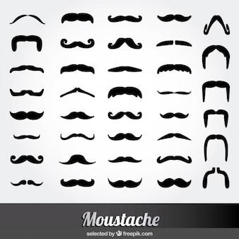 Icônes monochrome moustache fixés