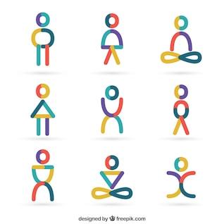 Icônes personnes en style abstrait
