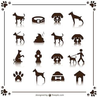 Icônes vectorielles de chien mis en