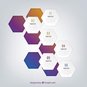 Infographie avec des hexagones découpées