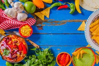 Ingrédients mexicains naturels et frais