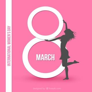 Internationale de la femme carte de jour en couleur rose