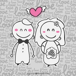 Invitation de bande dessinée de carte de mariage