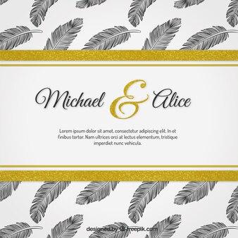 Invitation de mariage animés avec des plumes
