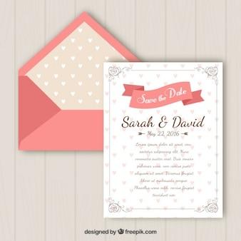 invitation de mariage avec des coeurs